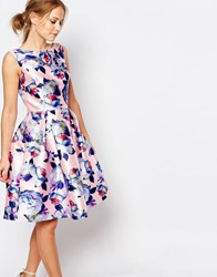 Chi Chi London Sateen Prom Dress In Floral Print Nude Floral Multi