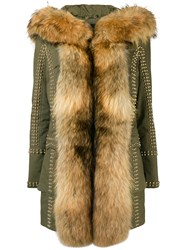 Philipp Plein Fur Trimmed Coat Green