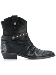Fausto Zenga Embroidered Cowboy Boots Leather Rubber Black