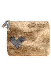 Aerin Beauty Large Raffia Pouch Beige