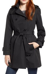 London Fog Trench Coat With Detachable Liner And Hood Black