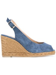 Castaner Sling Back Wedge Sandals Women Cotton Leather Rubber 40 Blue