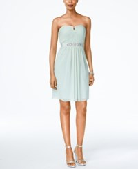 Adrianna Papell Strapless Ruched Dress Mint