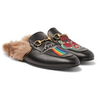 Gucci Princetown Shearling Lined Embellished Leather Backless Loafers Black