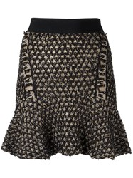 Cecilia Prado Knit Flare Skirt Women Acrylic Lurex Viscose M Black