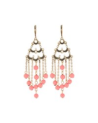 Emily And Ashley Greenbeads By Emily And Ashley Golden Crystal And Coral Beaded Chandelier Earrings Women's