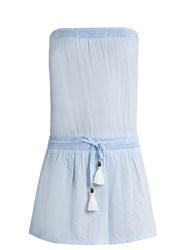 Heidi Klein Corsica Strapless Cotton Chambray Dress Light Blue