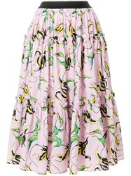 Fausto Puglisi Floral Print Full Skirt Pink And Purple
