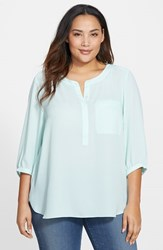 Nydj Plus Size Women's Henley Top Celedon