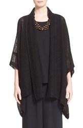 Eskandar Short Sleeve Cotton And Linen Mesh Cardigan Black