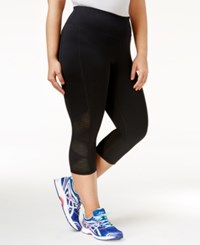 Ideology Plus Size Mesh Trim Cropped Leggings Only At Macy's Noir