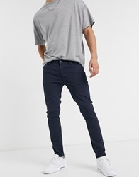 Jack And Jones Intelligence Skinny Fit 5 Pocket Trousers In Navy