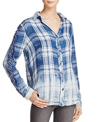 Vintage Havana Stella Lace Up Sleeve Plaid Shirt Blue