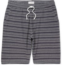 Oliver Spencer Weston Striped Cotton Jersey Shorts Navy