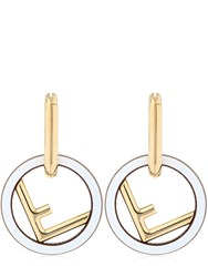 Fendi F Logo Metal Earrings White