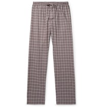 Zimmerli Checked Cotton And Wool Blend Flannel Pyjama Trousers Burgundy