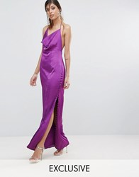 Fame And Partners Straight Gown With Button Detailing Purple