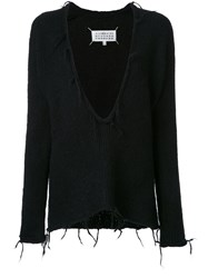 Maison Martin Margiela Deep V Neck Knitted Jumper Black