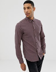 Only And Sons Slim Fit Shirt In Grid Check Red