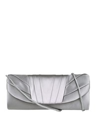Jessica Mcclintock Pleated Satin Clutch Silver