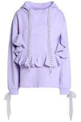 House Of Holland Polka Dot Tulle Trimmed French Cotton Terry Hooded Sweatshirt Lilac