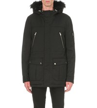 The Kooples Hooded Shell Parka Coat Anthracite