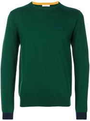 Sun 68 Contrast Cuff Sweater Cotton Wool S Green