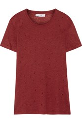 Iro Clay Distressed Linen Jersey T Shirt Claret