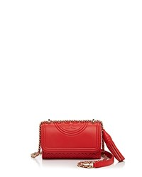 Tory Burch Micro Fleming Crossbody Red Volcano Gold