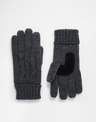 Totes Cable Gloves With Thinsulate Grey