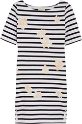 Band Of Outsiders Rose Print Striped Cotton Mini Dress White