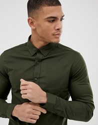 New Look Muscle Fit Oxford Shirt In Khaki Green