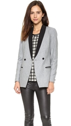 Maison Scotch Wool Blend Long Tuxedo Blazer Grey