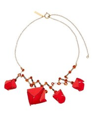 Marni Flower And Crystal Necklace Red