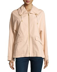 Minnie Rose Zip Front Anorak Jacket W Piping Pink Dusk