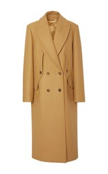 Michael Kors Collection Double Breasted Wool Melton Coat Brown