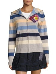 Marc Jacobs Striped Zip Front Hoodie Orange Multicolor
