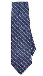 Thomas Mason Broken Stripe Tie Navy Blue
