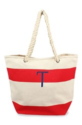 Cathy's Concepts Personalized Stripe Canvas Tote Red Red T