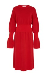 Tibi Merino Wool Sweater Dress Red