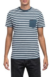 Rvca Men's Mana Stripe Pocket T Shirt Dark Denim