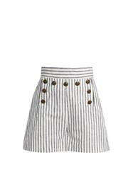 Zimmermann Zephyr Striped Cotton And Linen Blend Shorts Blue Multi
