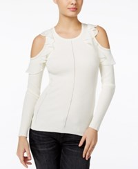 Guess Ruffled Cold Shoulder Sweater Scuffy