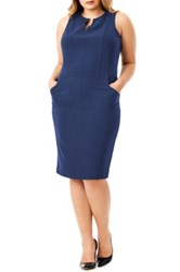 Mynt 1792 Sleeveless Seamed Sheath Dress Plus Size Blue