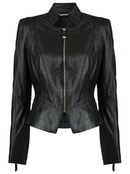 Tufi Duek Fitted Waist Leather Jacket Goat Fur Black