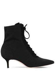 Gianvito Rossi 55Mm Stretch Jersey Lace Up Ankle Boots Black