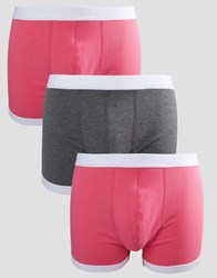 Asos Trunks In Pink With Contrast Binding 3 Pack Pink