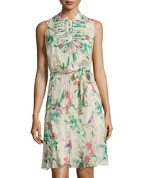 Paperwhite Sleeveless Floral Print Chiffon Dress Multicolor