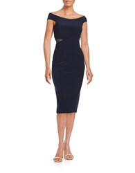 Xscape Evenings Mesh Accented Off The Shoulder Dress Navy
