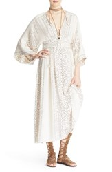 Women's Free People 'Modern Kimono' Maxi Dress Pearl Combo